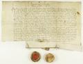 Zygmunt I Stary król polski, przekazuje władzom miejskim poznańskim dochody celne na okres trzech lat za sumę dzierżawną 900 florenów węgierskich, płatną w dwóch ratach..png