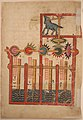 """""""Design on Each Side for Waterwheel Worked by Donkey Power"""", Folio from a Book of the Knowledge of Ingenious Mechanical Devices by al-Jazari MET sf55-121-11r.jpg"""