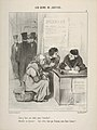 """""""Faut-y faire une lettre pour l'attendrir?...- Attendrir un huissier!..vous n'êtes donc pas français, mon brave homme?...."""" , plate 5 from Les Gens de Justice MET DP833794.jpg"""