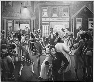 """Archibald Motley - NARA black-and-white photograph of """"Getting Religion"""" painting by Motley (original painting in color)"""