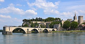 """Sur le Pont d'Avignon on y danse"" is the famous song, but now we see only many tourist just standing there - panoramio.jpg"