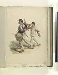 (...) Infanterie (Two soldiers in white uniforms with read trim. First soldier is playing a drum, the second is blowing a bugle.) (NYPL b14896507-76664).tiff