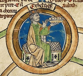 Alfred the Great - Alfred's father Æthelwulf in the early fourteenth-century Genealogical Roll of the Kings of England