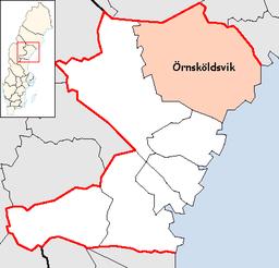 Örnsköldsvik kommunes beliggenhed i Västernorrlands amt