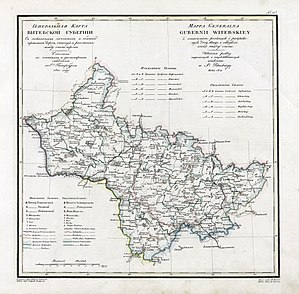 Vitebsk Governorate - Map of Vitebsk Governorate, ca 1821 (Russian-Polish)