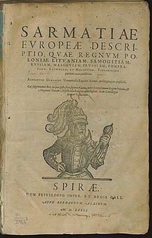 Alexander Guagnini - Image: Тытульны аркуш Sarmatiae Europeae descriptio (Апісанне Еўрапейскай Сарматыі). Шпаер. 1581 (01)