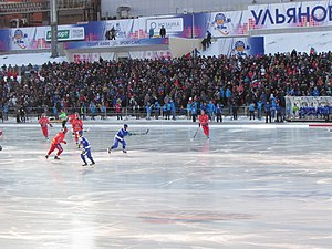 Sport in Finland - Finland national bandy team in the final of the 2016 World Championship against the victorious home team Russia