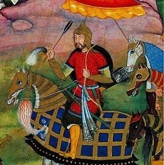 Humayun - Humayun, detailed of miniature of the Baburname.