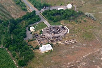 Zvartnots Cathedral - Aerial view of the entire complex