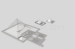 Pyramid of Teti - View of the pyramid of Teti taken from a 3d model