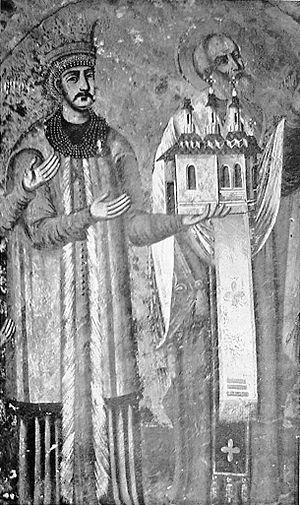 Petru Rareş, fresco in Râşca monastery.