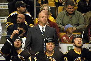 English: Claude Julien on the Boston Bruins bench