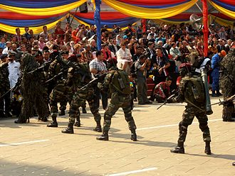10 Paratrooper Brigade (Malaysia) - An operators of 10 Paratrooper Brigade demonstrated specialised combat operations during the National Day Parade of 2013 at National Square, Kuala Lumpur, Malaysia. Two soldiers has a slung HK MP5SD2 while sniper personnel has a slung Colt M4A1 Carbine.