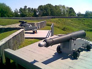 Fort Wellington - 12-pounder gun at northwest corner and carronade over main gate