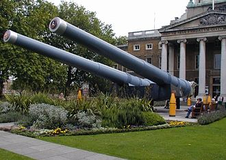 Imperial War Museum - 15-inch guns outside the museum; the nearer gun from HMS Ramillies, the other from HMS Resolution.