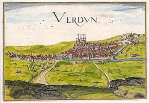 Verdun - Bird's-eye view of Verdun in 1638