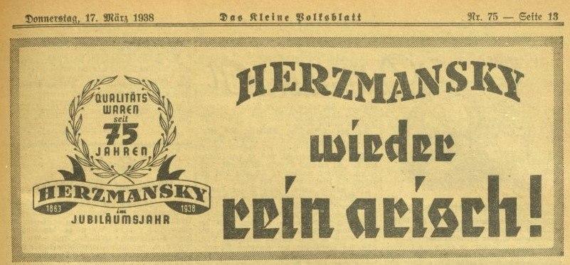 17 maerz 1938 das kleine volksblatt herzmansky arisch werbung