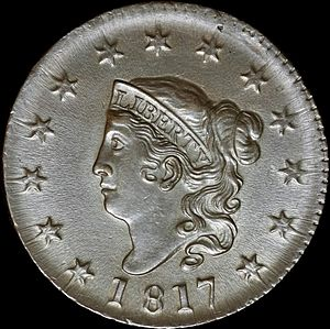 "Large cent - The 1817 ""Matron Head"" large cent."