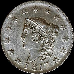 "Large cent - The 1817 ""Matron Head"" large cent."