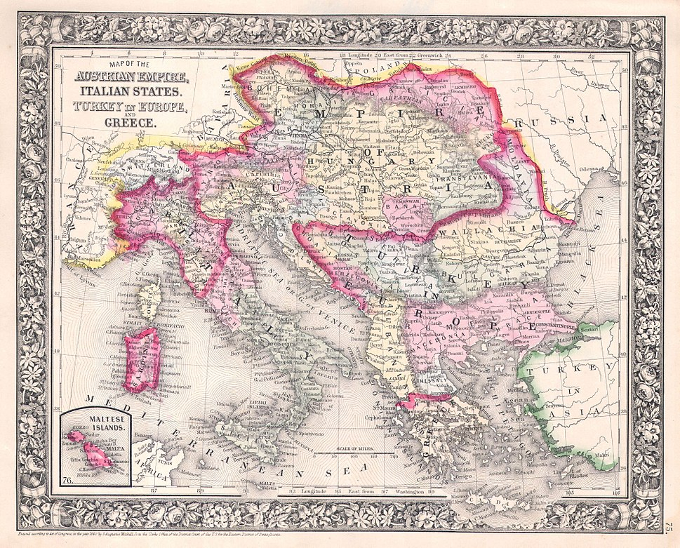 1864 Mitchell Map of Italy, Greece and the Austrian Empire - Geographicus - AustriaItaly-mitchell-1864