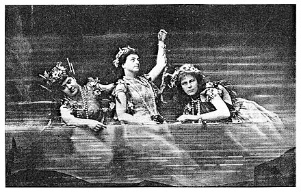 The Rhinemaidens in the first Bayreuth production in 1876 1876Rhinemaidens.jpg