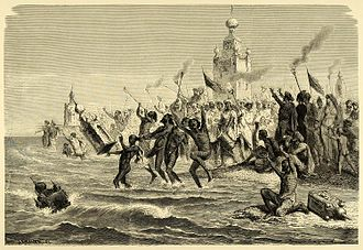 Ta'zieh - 1878 painting of Tazia immersion in the Bay of Bengal by Shia Muslims (Emile Bayard).
