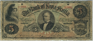 Scotiabank - Joseph Howe portrait, 1881 $5 Bill Bank of Nova Scotia