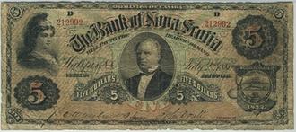 Scotiabank - Joseph Howe portrait, 1881 $5 Bill Bank of Nova Scotia