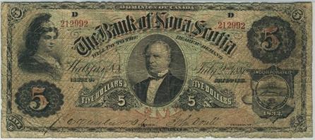 1881 $5 Bill Bank of Nova Scotia
