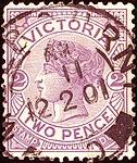 1886issue 2d Victoria Melbourne 1901 Yv92 Mi102.jpg