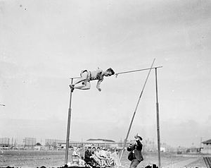 Athletics at the 1904 Summer Olympics – Men's pole vault - Louis Wilkins clearing the bar on the way to the bronze medal.