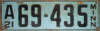 Vehicle registration plates of Minnesota - Image: 1921 Minnesota license plate