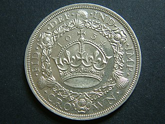 Crown (British coin) - Image: 1934 George V 'wreath' Crown (reverse) UNC