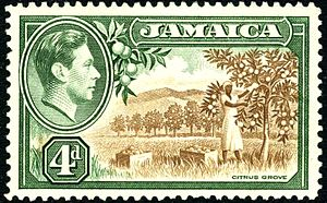 Postage stamps and postal history of Jamaica - A 1938 4d stamp of Jamaica.