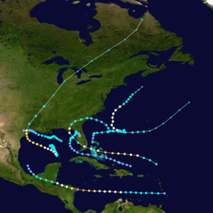 Map of storm tracks over the northeast Atlantic, Caribbean, and Gulf of Mexico. Six storms hit regions including Florida, Texas, and northern Central America, often veering northeast after hitting land.