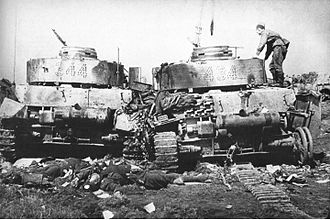 Operation Bagration - Two destroyed Panzer IV tanks belonging to the 20th Panzer Division, June 1944