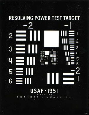 1951 USAF resolution test chart - Glass chart
