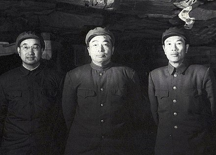 Three commanders of PVA during the Korean War. From left to right: Chen Geng (1952), Peng Dehuai (1950-1952) and Deng Hua (1952-1953) 1954 deng hua.jpg