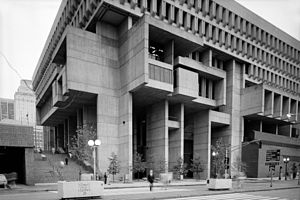 Béton brut - Boston City Hall, an example of brutalism using béton brut