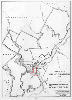 Samuel J. Randall - Pennsylvania's first congressional district in 1862 (outlined in red)