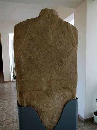 Kurgan stelae - Anthropomorphic stele of the early type (Neolithic period) from Hamangia-Baia, Romania exhibited at Histria Museum