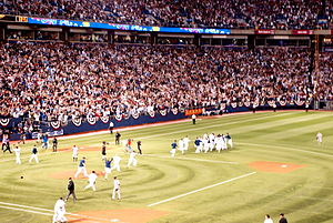 2009 American League Central tie-breaker game - The Twins celebrate after winning the game 6–5.