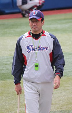 20111015 Shinichi Sato,coach of the Tokyo Yakult Swallows, at Yokohama Stadium.jpg
