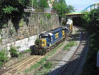 Baltimore Terminal Subdivision - CSX autorack train on the Baltimore Terminal Subdivision in Baltimore