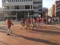 2014-12-27 14 46 49 Reenactors marching down South Broad Street (U.S. Route 206 northbound) into Mill Hill Park during a reenactment of the Second Battle of Trenton in Trenton, New Jersey.JPG