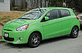 2014 Mitsubishi Mirage ES in green, front left.jpg
