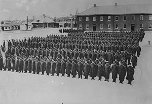 22nd Battalion (French Canadian), CEF - 22nd Battalion Canadian Expeditionary Force on parade at St Jean, Quebec in 1915