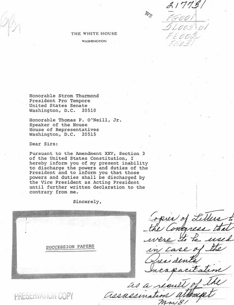 File 25th Amendment Draft Letters For Reagan Or Cabinet After March 1981 Assassination Attempt Pdf Wikipedia