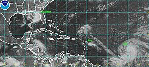 2009 Atlantic hurricane season - Satellite image of Tropical Storms Ana (center), Bill (right) and Claudette (left) on August 16