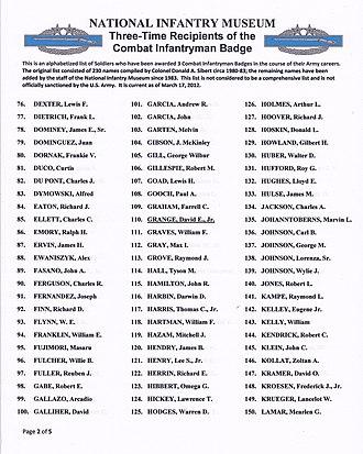Combat Infantryman Badge - Image: 3x CIB Recipients list p 2of 5
